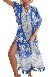 Cupshe NWT Bathing Suit Long Cover Up One Size White Blue Accent Sheer GORGEOUS $15.99