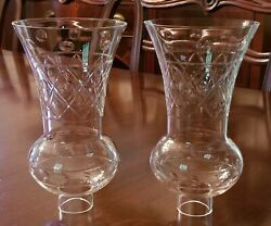RARE PAIR TRUMPET GLASS GLOBES HURRICANES FOR LAMP SCONCE CANDLESTICK CHANDELIER $200.00