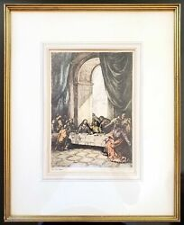 William Mark Young The Last Supper Original Signed Etching Framed Matted 8 x 12 $79.95