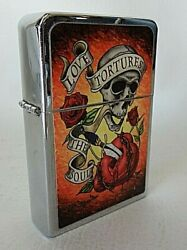 Large Novelty Cigarette Lighter quot;Love Tortures The Soulquot; Guns amp; Roses Skull 4.5quot; $6.99