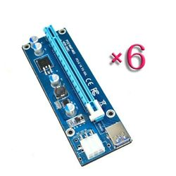 6PC Pci e Riser Pcie Extender 1X to 16X Cable 6Pin DC DC Graphics Card Extension $34.66