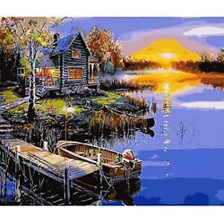 Paint by Numbers for Adults DIY Canvas Oil Painting 16quot;x20quot; Lakeside Boat $12.81
