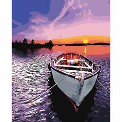 Paint by Numbers for Adults DIY Canvas Oil Painting 16quot;x20quot; Lakeside Boat $14.77