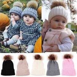 Toddler Kids Baby Winter Warm Beanie Hat Boy Girl Knitted Fur Pom Pom Bobble Cap $7.99