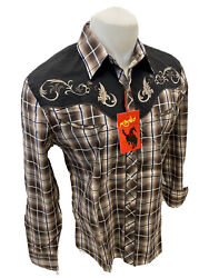 Mens RODEO WESTERN BROWN PLAID STITCH Long Sleeve Woven SNAP UP Shirt Cowboy 530 $34.97