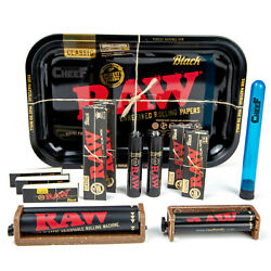 AUTHENTIC RAW Red on Black Rolling Tray 13pc Variety Smoker Bundle Starter Kit $25.99