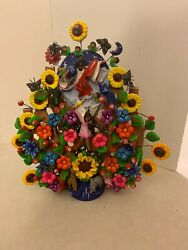 Vintage Tree Of Life Mexican Folk Art Pottery Colorful Candelabra Jesus $79.75
