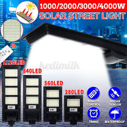 990000LM Commercial Solar Street Light LED Outdoor Mounting Pole Black 1128LED