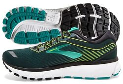 Brooks Ghost 12 Mens Shoe Black Lime Blue Grass multiple sizes New In Box $95.95