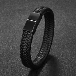 Men Jewelry Black Braided Leather Bracelet Stainless Steel Clasp Bangle Hip hop