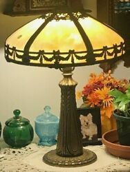 Antique Slag Lamp 8 Panel Large 23quot; Shade Marble Malachite Amber Shade Glass $525.00