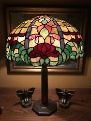 Arts Crafts Leaded Vintage Slag Glass Antique Lamp Bradley Hubbard Handel Era $1850.00