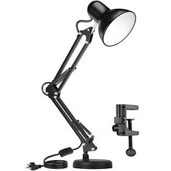Metal Adjustable Swing Arm Desk Lamp Eye Caring Study Desk Lamps Black $22.99