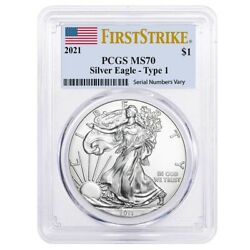 2021 1 oz Silver American Eagle $1 Coin PCGS MS 70 First Strike Flag Label $53.98