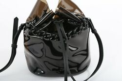 KENDALL KYLIE Black Leather PVC Round Chain Bucket Bag