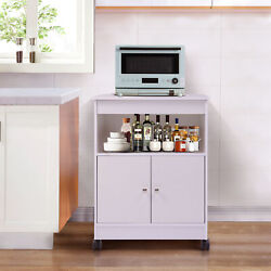 Home Kitchen Microwave Cart Storage Large Open Shelf Cabinet Rolling Wood White $62.99