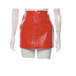 Courreges Vegan Leather Red Mini Skirt Vintage Style Space Age Go Go $325.00