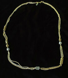 Vintage Coach crystal and logo beads Gold and Silver 36quot; Necklace w pouch Mint $41.25