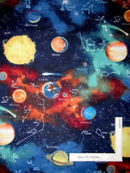 Solar System Planets Moon Earth Sun Space Star Cotton Fabric Novelty By The Yard $8.93