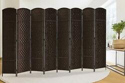 8 Panels Wall Room Divider Diamond Weave Fiber Privacy Folding Screen Room Decor $115.89