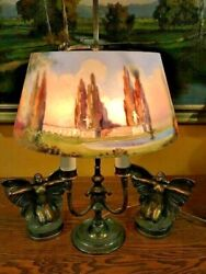 pairpoint arts crafts reverse painted antique lamp handel bradley hubbard era $2250.00