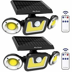 Solar Lights Outdoor With Motion Sensor 3 Heads Security Remote Control 83 For $41.09