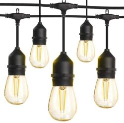 48ft Outdoor String Lights with 16 2W Shatterproof Bulbs and Commercial Grade We