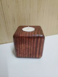 Contemporary Rustic Handmade Douglas Fir Red Oak Single Tea Light Holder $14.99