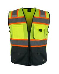 High Visibility Safety Vest Multi Pockets Yellow Black Class 2 $14.95