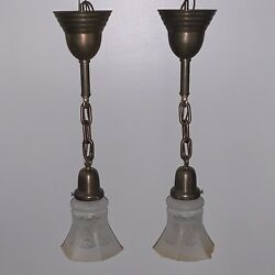 "21"" Pair Antique Brass Pendant Light Fixtures W Antique Shades 105C $630.00"