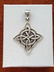 925 Sterling Silver Witch#x27;s Celtic Protection Knot Pendant for necklace 28mm $24.00