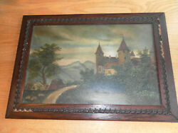 ORIGINAL ANTIQUE OIL ON BOARD PAINTING OF CASTLE IN COUNTRYSIDE ORIGINAL FRAME $165.00