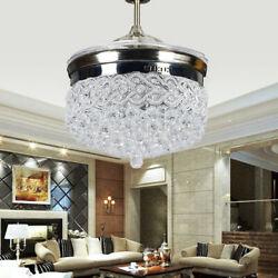 42quot; Retractable Blades Ceiling Fan Light LED Chandelier Fixtures Modern For Room $174.07