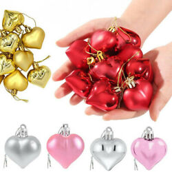 24PCS Heart Shaped Baubles Heart Valentine#x27;s Day Ornament Hanging DIY Decoration $8.98