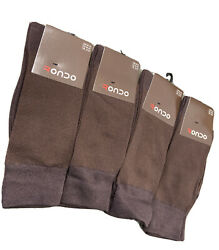 Rondo Men Pack 4 Pairs Ultra Thin Breathable Cotton Dress Brown Socks Large10 13 $12.34