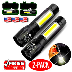 High Power Military Tactical Rechargeable LED Flashlight With Lamp 2 PACK $14.99