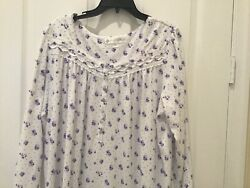 NWT Eileen West Long Cotton Knit Purple Flowered Nightgown Large L $49.99