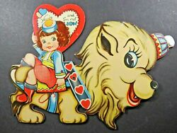 Vintage 1930s Large Valentine Card Die Cut Moveable Girl Circus Lion Rare A6656 $7.99