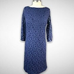 Evan Picone NWT Lace Sheath Dress Cocktail Size 16 Navy Blue $34.99