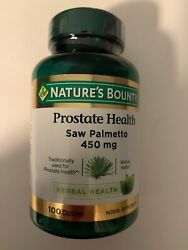Nature#x27;s Bounty Prostate Health SAW PALMETTO 450mg 100 Capsules 11 22 Exp. $10.95
