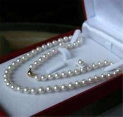 AA 7 8MM Natural White Akoya Cultured Pearl Necklace 18quot; Earrings Set $6.50