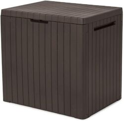 Keter City 30 Gallon Resin Deck Box for Patio Furniture Pool Brown $54.36