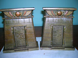 Antique Egyptian Revival tomb temple hieroglyphs bookends Bradley Hubbard 1925 $195.00