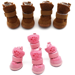 Dog Boots Warm Winter Paw Protective Adjustable Anti slip Apparel Pink Dog Shoes $8.99