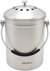 Countertop Compost Bucket Kitchen Pail Compost with Lid 1.3 Gallon Stainless Ste $34.69