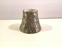 Small Bell Lamp Shade Clip On Gold Paisley Fabric w Bling 4quot;x2 3 4quot;x5quot; $16.69