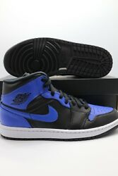 Nike Jordan 1 Mid Black Royal Tumble Leather 554724 077 Men#x27;s amp; GS Sizes $159.97