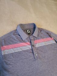 FootJoy FJ Athletic mens polo golf shirt MEDIUM Gray stretch poly Superstition $20.00