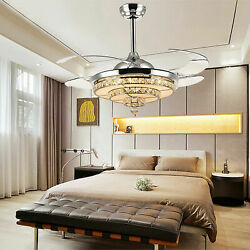 42 Inch LED Modern Crystal Ceiling Fan with Light and Remote 3 Light Change $142.00