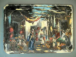 Old oil on cardboard oriental original painting not signed view o Arabic market $199.99